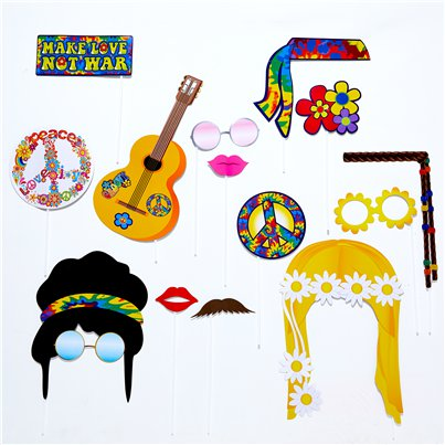 60's Hippie Photo Booth Prop Accessories