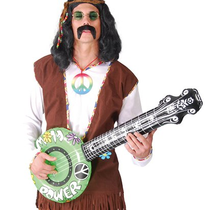 Hippie Power Inflatable Banjo - Adult Fancy Dress Accessories  front