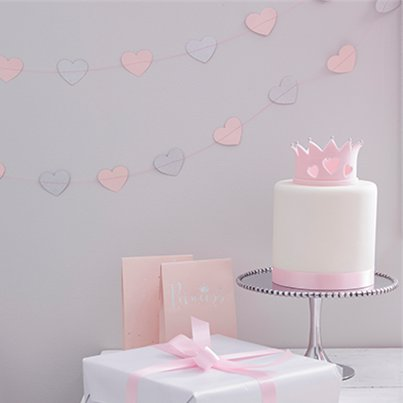 Princess Perfection Silver Glitter Heart Garland - 5m