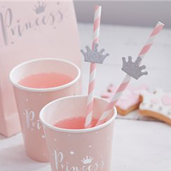 Princess Perfection Paper Straws with Flags
