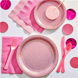 Pink Sparkly Plates - 21.5cm