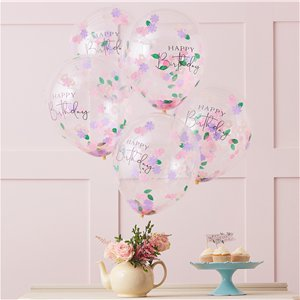 Floral Confetti Happy Birthday Balloons - 12