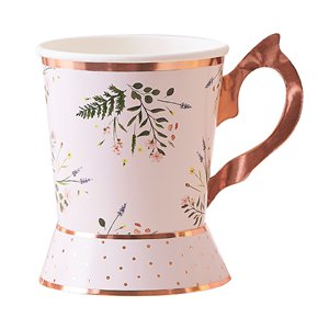Rose Gold Floral Paper Tea Cups