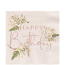 Rose Gold Floral Foil Birthday Paper Napkins - 33cm