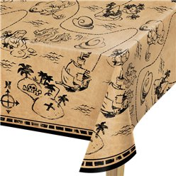 Pirate Treasure Plastic Tablecover - 1.37m x 2.59m