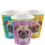 Pug Puppy Birthday Paper Party Cups - 256ml