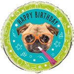 Pug Puppy Birthday Foil Balloon - 18""