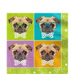 Pug Puppy Birthday Luncheon Napkins - 33cm