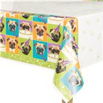 "Pug Puppy Birthday Plastic Tablecover - 54"" x 84"""