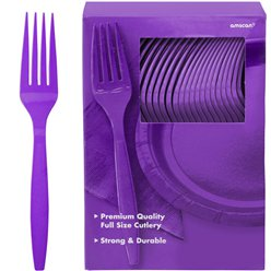 Purple Reusable Forks - 100pk