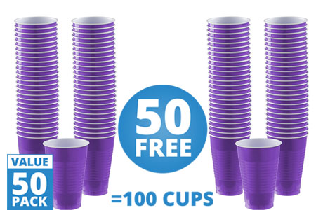Purple Cups - 355ml Plastic Party Cups