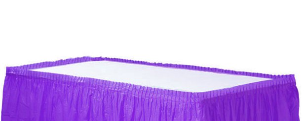 Purple Plastic Tableskirt - 73cm x 4.2m