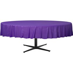 Purple Round Tablecover - Plastic - 2.1m