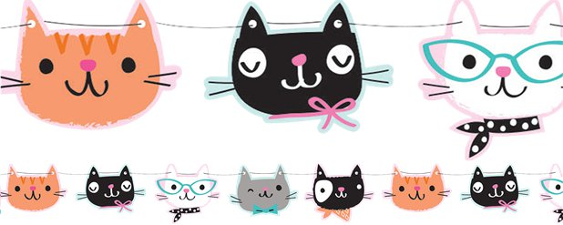 Purr-fect Party Shaped Bunting - 1.7m