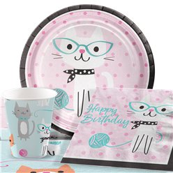 Purr-Fect Happy Birthday Party Pack - Value Pack For 8