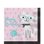 Purr-fect Party 'Happy Birthday' Paper Napkins - 33cm
