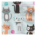Purr-fect Party Paper Cocktail Napkins - 25cm