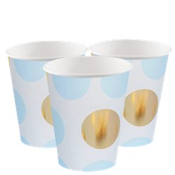 Pattern Works Blue & Gold Polka Dot Cups