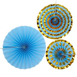 Pattern Works Blue & Gold Fan Decorations