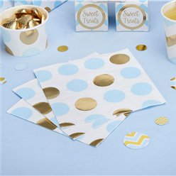Pattern Works Blue & Gold Polka Dot Napkins - 33cm