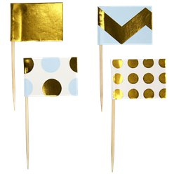 Pattern Works Blue & Gold Cupcake Picks