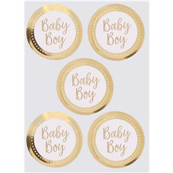 Pattern Works Gold Baby Boy Stickers