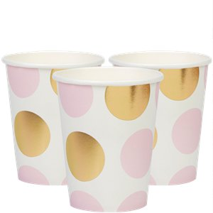 Pattern Works Pink Polka Dots Paper Cups - 255ml