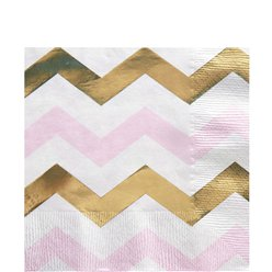 Pattern Works Pink Chevron Paper Napkins - 33cm