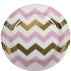Pattern Works Pink Chevron Plates - 23cm