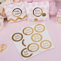 Pattern Works Gold 'Baby Shower' Stickers