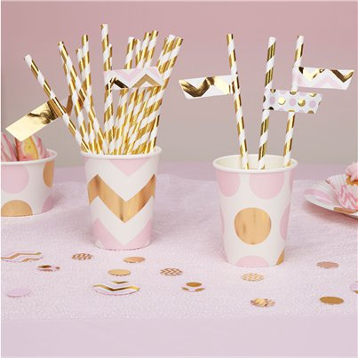 Pattern Works Pink Chevron Straw Flags