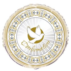 "Silver & Gold Radiant Cross Confirmation Balloon - 18"" Foil"