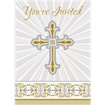 Silver & Gold Radiant Cross Invites - Party Invitation Cards
