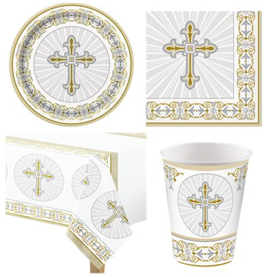 Radiant Cross  First Holy Communion Party Pack - Value Pack For 8