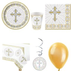 Radiant Cross First Holy Communion Party Pack - Deluxe Pack for 8