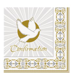 Silver & Gold Radiant Cross Confirmation Napkins - 33cm