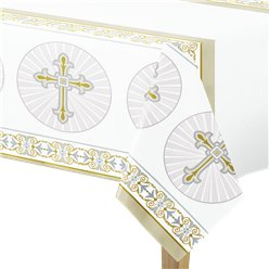 Silver & Gold Radiant Cross Plastic Tablecover - 1.4m x 2m