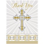 Silver & Gold Radiant Cross Thank You Cards