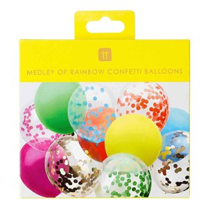 Confetti & Solid Mix Rainbow Balloons  - 12