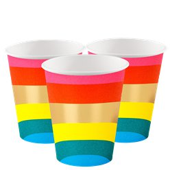 Rainbow Paper Cups - 250ml