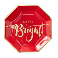 Merry & Bright Foiled Paper Plates - 23cm