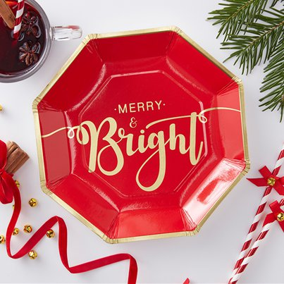 Merry & Bright Foiled Christmas Paper Plates - 23cm