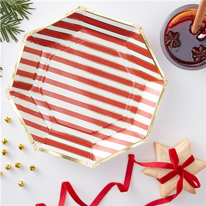 Merry & Bright Foiled Stripe Paper Plates - 23cm