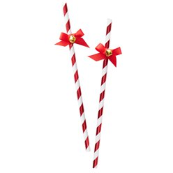 Merry & Bright Striped Paper Straws with Bells - 19cm