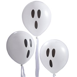 "Creep It Real Ghost Balloons with Streamers - 12"" Latex"