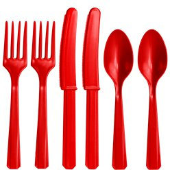 Red Reusable Plastic Cutlery - Assorted Party Pack