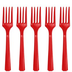 Red Reusable Forks - 20pk