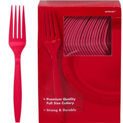 Red Reuseable Plastic Forks