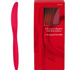 Red Reuseable Plastic Knives