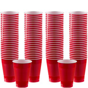 Plastic Cups 355ml 100pk (Apple Red)